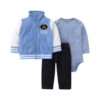 Fashion Letters Print Long-sleeve Coat Striped Bodysuit and Pants Set for Baby Boy