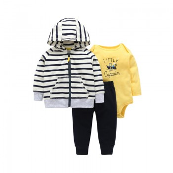Baby Boy's Striped Hooded Long-sleeve Coat Letters Print Bodysuit and Pants Set