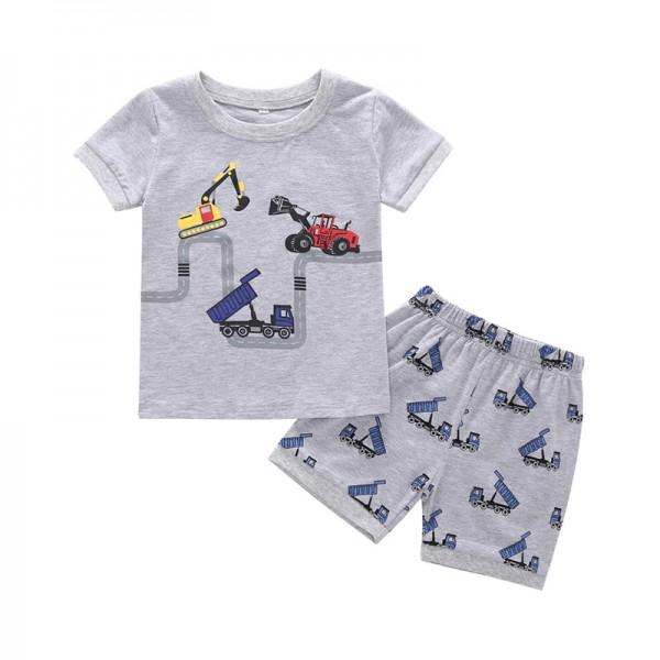 Fun Vehicle Print Short-sleeve T-shirt and Shorts Set in Light Grey for Toddler Boy and Boy