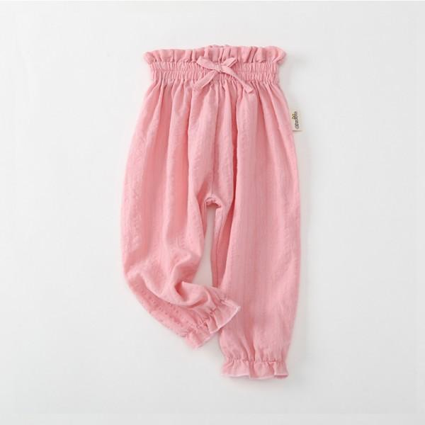 Pretty Solid Ruffled Bowknot Decor Pants for Toddler Girl and Girl
