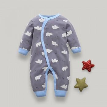 Cute Polar Bear Print Long-sleeve Jumpsuit in Grey for Baby
