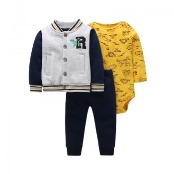 3-piece Cool Dino Pattern Bodysuit Jacket and Pants Set for Baby Boy