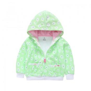 Fresh Flower Print Hooded Cotton Jacket in Pale Green for Baby and Toddler Girl