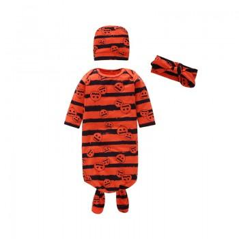 3-piece Stylish Striped Pumpkin Patterned Long-sleeve Pajama, Hat and Headband Set for Baby