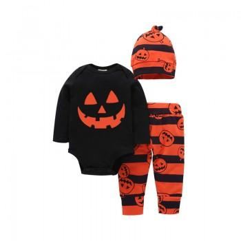 3-piece Trendy Pumpkin Print Romper, Striped Pants and Hat Set for Baby