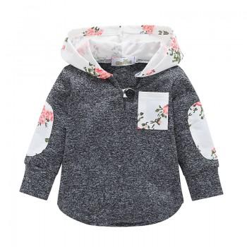 Fashionable Flower Print Pocket Design Long-sleeve Hoodie in Grey for Baby Girl