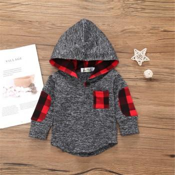 Stylish Plaid Design Long-sleeve Hoodie in Grey for Baby