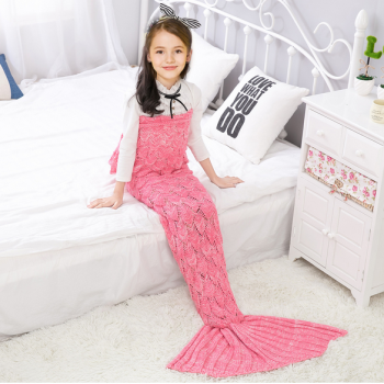 Comfy Solid Knit Mermaid Tail Shape Blanket for Baby