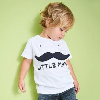 Comfy Mustache Print Short-sleeve T-shirt in White for Toddler Boy and Boy