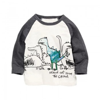 Lovely Dinosaur Print Color Blocking Tee for Baby Boy and Boy