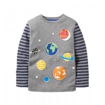 Fashionable Planet Print Long-sleeve Tee for Toddler Boy and Boy