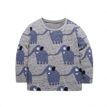 Fun Elephant Patterned Long-sleeve Top for Toddler Boy and Boy