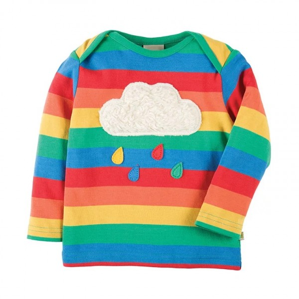Adorable Cloud Applique Striped Top for Baby and Kid