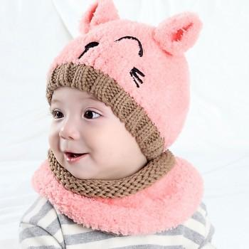 Lovely Cat Design Hat and Scarf Set for Baby