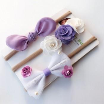 3-piece Pretty Flower and Bow Decor Elastic Hair Ties for Toddler Girl