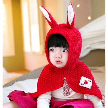 Lovely Knitted Rabbit Design Hat with Cape for Toddler