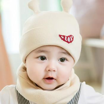2-piece Comfy Knitted 3D Ears Decor Hat and Neck Warmer Set