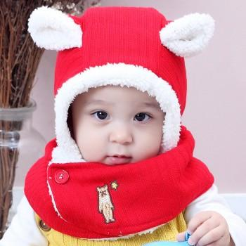 Cute Solid Knitted Ear Design Hat and Bear Embroidered Scarf  Set