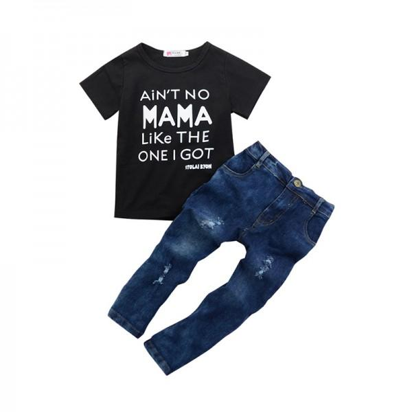 Cool Letter T-shirt and Rip Jeans Set for Baby Boy/Boy