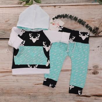 2-piece Arrow Reindeer Print Hooded Top and Pants for Baby and Kid
