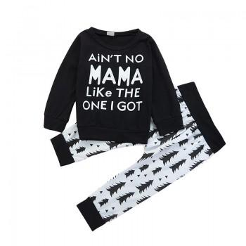 Cool Letter Long-sleeve Tee and Fur Print Pants for Baby