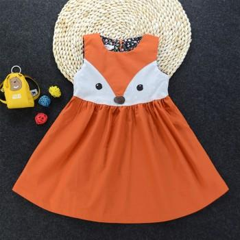 Cute Fox Print Sleeveless Dress for Baby Girl