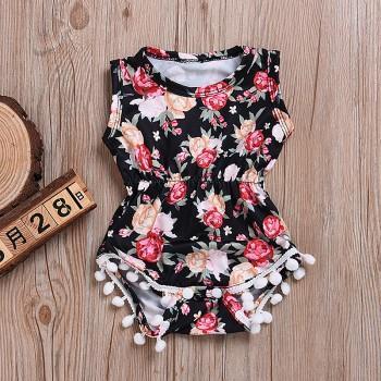 Pretty Floral Tassel Sleeveless Bodysuit for Baby Girl