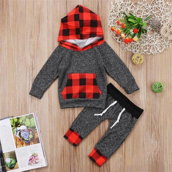 2-piece Comfy Plaid Hooded Top and Pants for Baby and Kid
