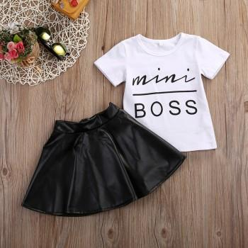 2-piece Cool Short Sleeves Letter Tee and Leather Skirt Set for Baby Girl
