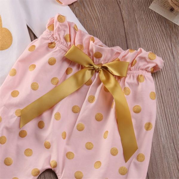 Pretty Rabbit Print Long-sleeve Bodysuit,Polka Dot Pants and Headband Set for Baby Girl