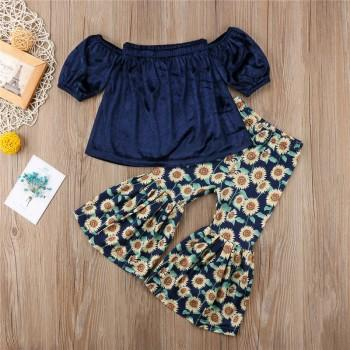 Sweet Solid Off Shoulder T-shirt and Sunflower Print Flare Trousers Set for Baby Girl