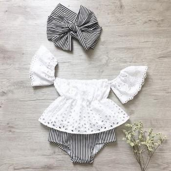 Baby Girl's Hollow Out Top Striped Shorts and Headband Set