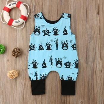Cute Monster Print Sleeveless Jumpsuit for Baby Boy