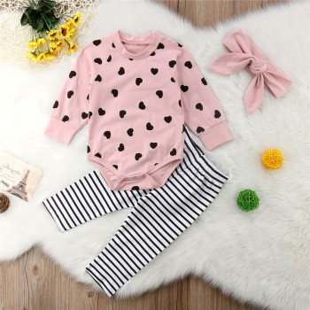 3-piece Pretty Heart Patterned Long-sleeve Romper, Striped Pants and Headband Set for Baby Girl