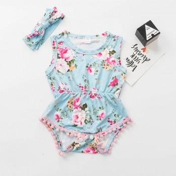 Pretty Floral Sleeveless Romper and Headband Set for Baby Girl