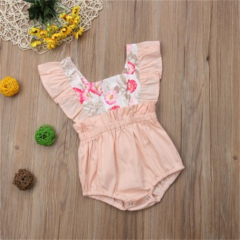 Beautiful Floral Print Ruffled Sleeveless Bodysuit for Baby