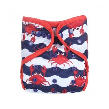 Baby's Reusable Washable Adjustable Crab Print Cloth Diaper