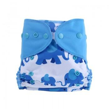 Baby's Reusable Washable Adjustable Cute Elephant Print Cloth Diaper