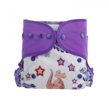 Baby's Reusable Washable Adjustable Star Dino Print Cloth Diaper