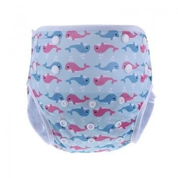 Baby's Reusable Washable Adjustable Whale Print Cloth Diaper