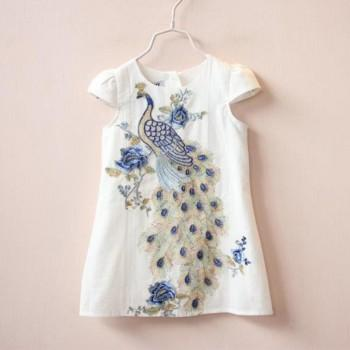 Stylish Peacock Embroidery Short-sleeve Dress for Girls