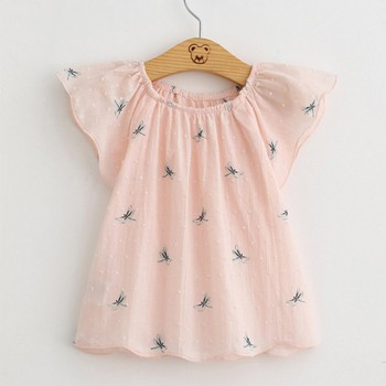Lovely Dragonfly Print Ruffled Cap-sleeve Dress for Toddler Girl and Girl