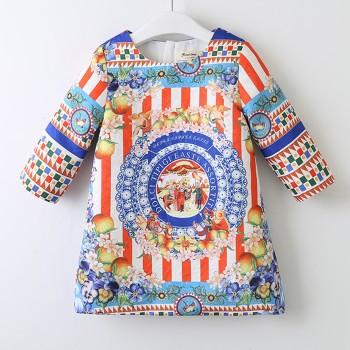 Stylish Ethnic Patterned Long-sleeve Dress
