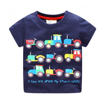 Cute Car and Letter Print Short Sleeves Tee for 4-7 Years Boys