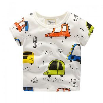 Fun Car Print Short Sleeves Tee for Boys