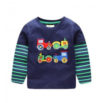 Lovely Car Applique Striped Short Sleeves Tee for Boys