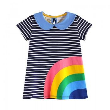 Stylish Striped Rainbow Short-sleeve Baby and Toddler Dress