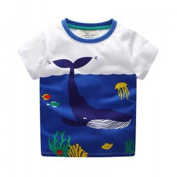 Lovely Whale Print Short-sleeve T-shirt in Blue for Toddler Boy and Boy