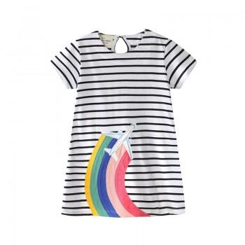 Casual Rainbow Print Short Sleeves Striped Dress for Girls