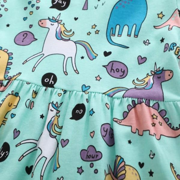 Pretty Unicorn and Dinosaur Pattern Short Sleeves Dress for Toddler Girl and Girl
